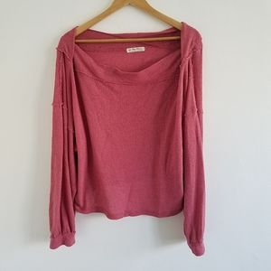 We the Free Pink Oversized Crop Sweater Large